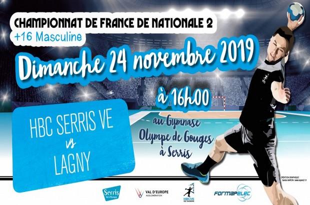 Championnat de France N2, le HBC Serris VE rencontre Lagny le 24 novembre 2019