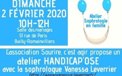 """L'association """"Sourire, c'est agir"""" propose un atelier Handicap'ose sophrologie en famille"""