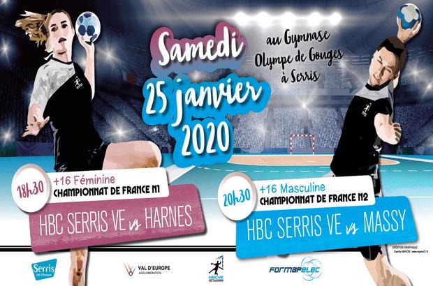 Handball : Les Elites Séniors N1F et N2M du HBCVE à l'affiche à Serris le 25 janvier