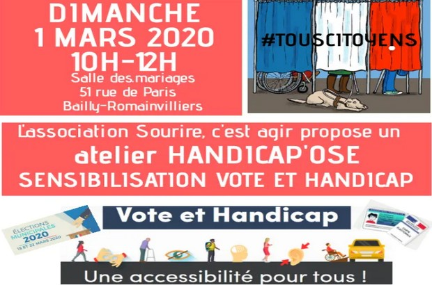 """L'association """"Sourire, c'est agir"""" Atelier citoyen sensibilisation Vote et Handicap"""