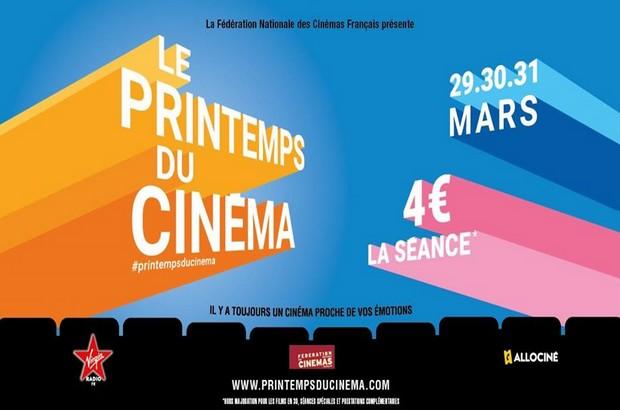 Printemps du cinéma 2020, la place de cinéma à 4 € c'est les 29, 30 et 31 mars 2020