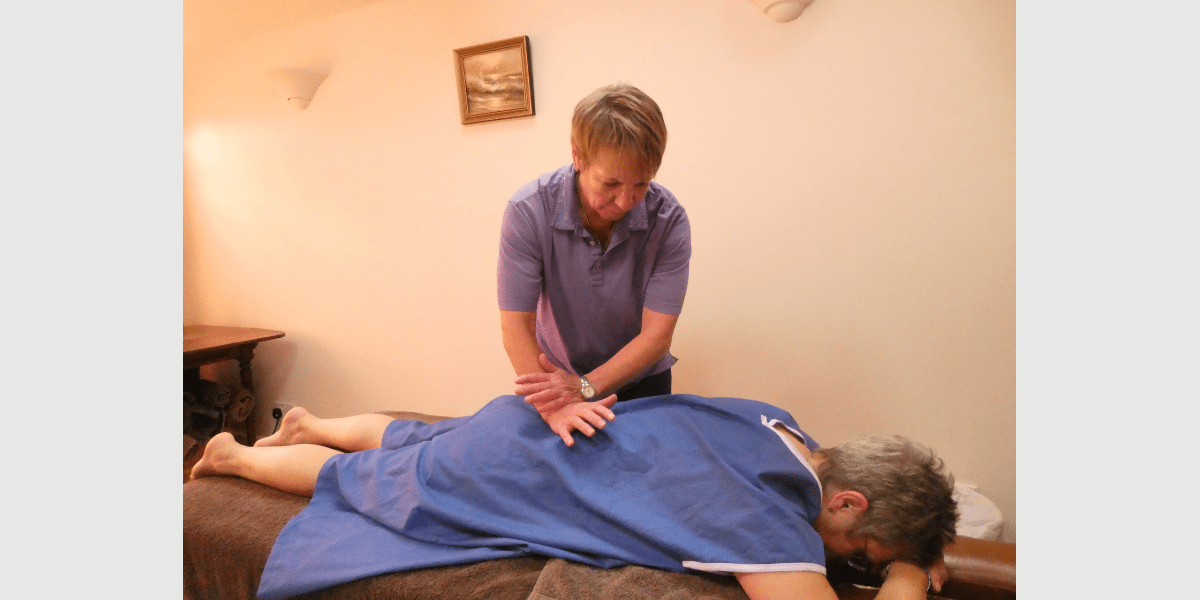Val performing McTimoney-Corley treatment