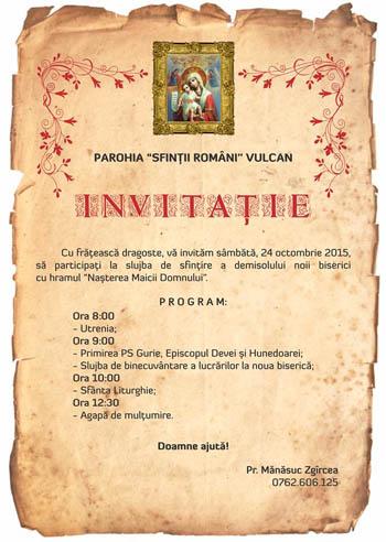 invitatie biserica vulcan