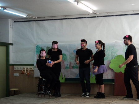 Little group of actors and actresses in the panto