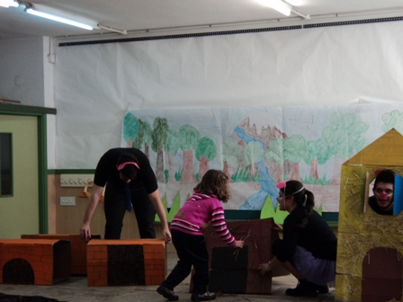 photo during the making of the panto in The Constitution