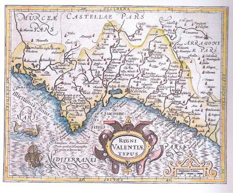 Mapa del reino de Valencia del año 1607