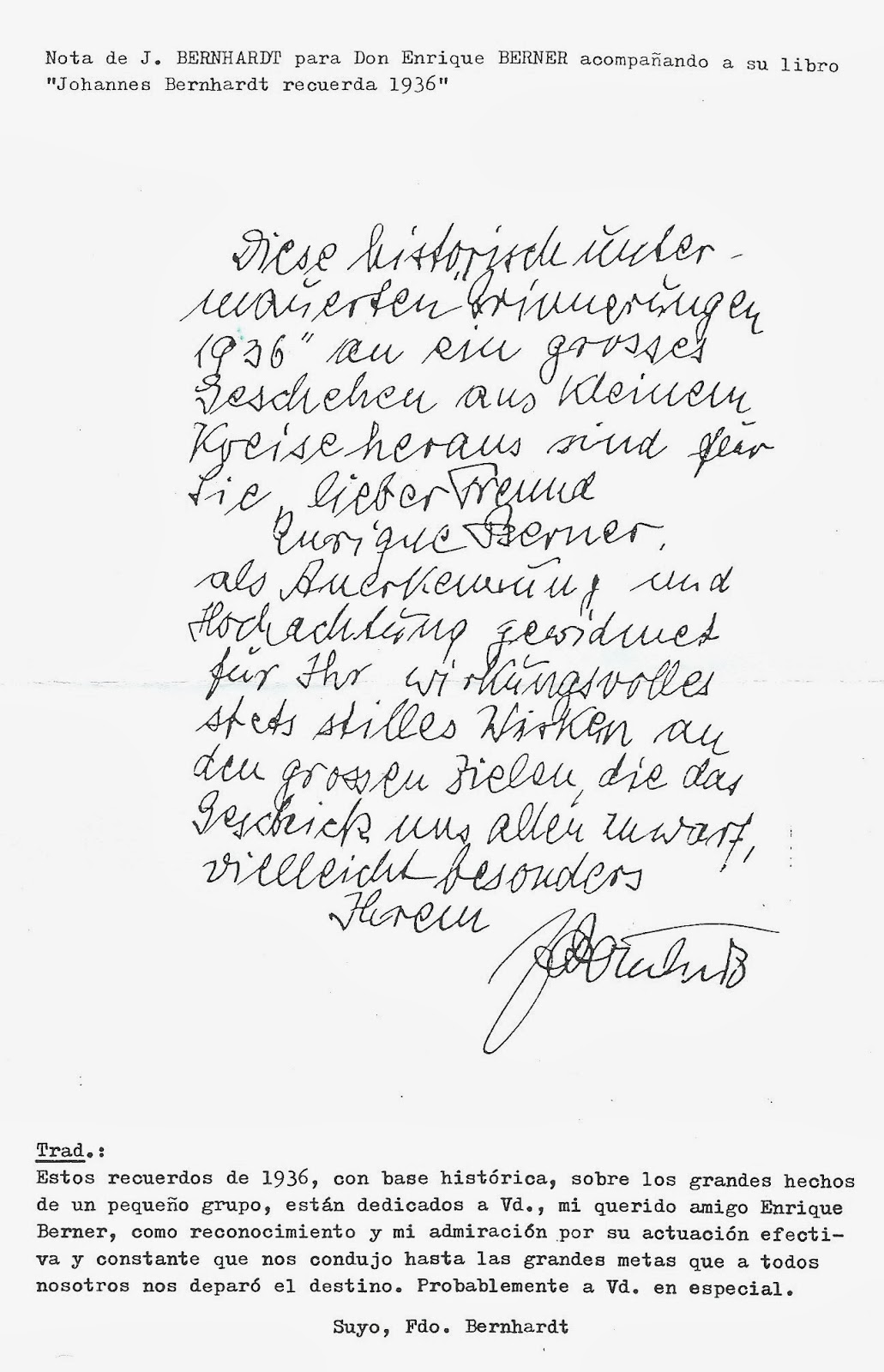 """Dedicatoria de Bernhardt a Berner en su libro """"Johannes Bernhardt recuerda 1936"""". Fuente: http://joseantoniobru.blogspot.com.es/"""