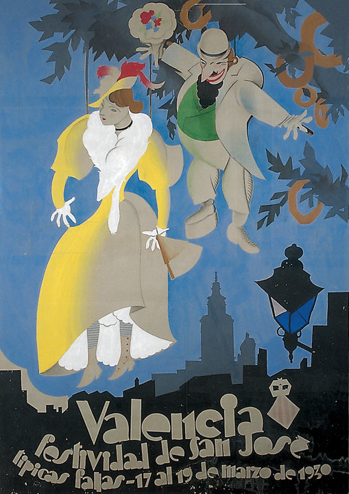 CARTEL DE FALLAS DE 1930 de Antonio Vercher.