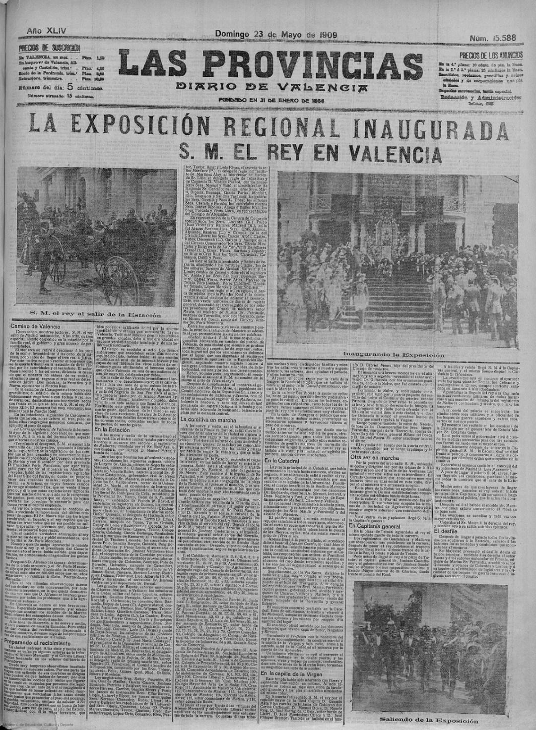 Portada del día 23 de mayo de 1909, 1 día después de la inauguración. Las Provincias : diario de Valencia: Año XLIV Número 15588 - 1909 mayo 23 (23/05/1909).