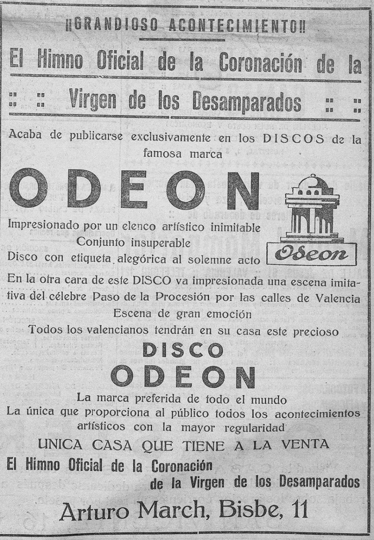 Recorte que apareció en la portada 'Las Provincias : diario de Valencia: Número 16665 - 1923 mayo 13 (13/05/1923), justo el día después de la Coronación.