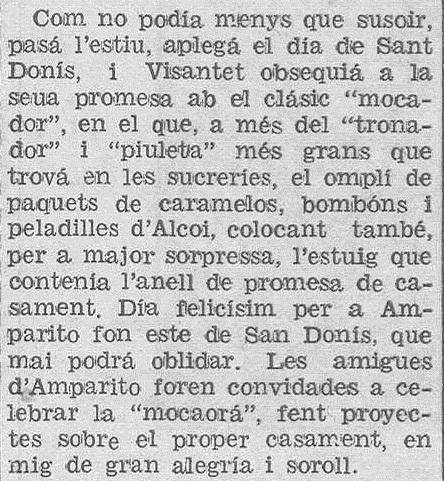 Relato que aparece en Las Provincias, años 30.