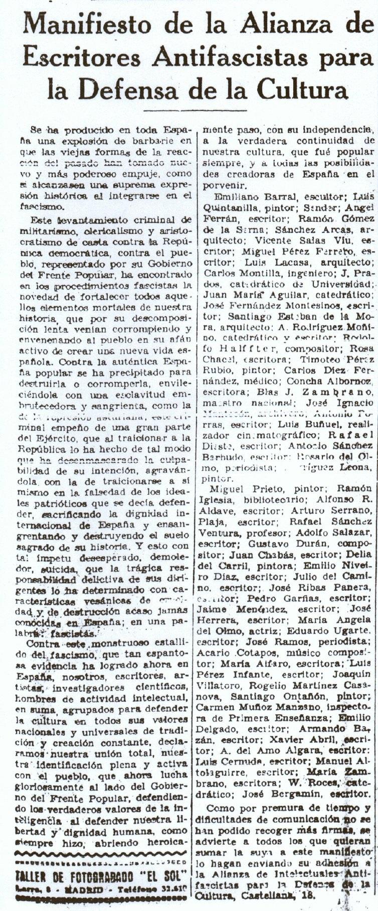 """""""La Voz"""", jueves 30 de julio de 1936, página 3."""