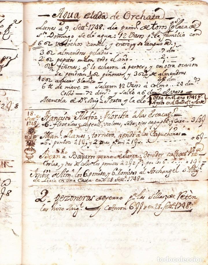 Manuscrito de la primera receta de horchata de la historia Valencia año 1748 siglo XVIII