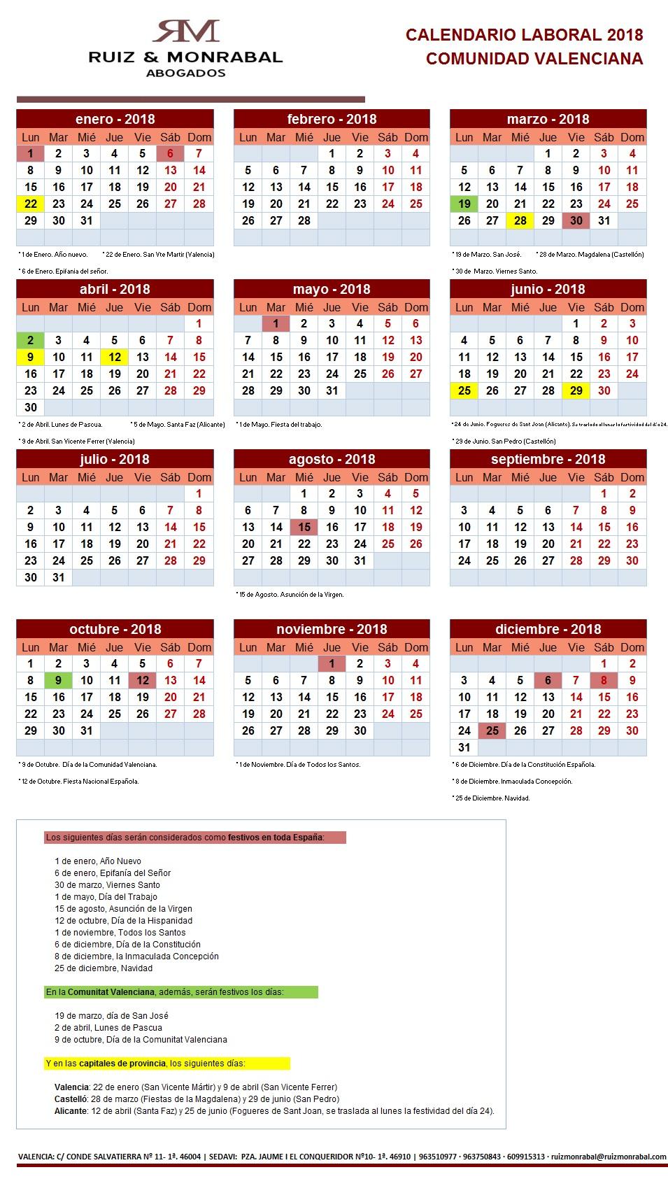 Calendario laboral 2018 en valencia for Festivos alicante 2017
