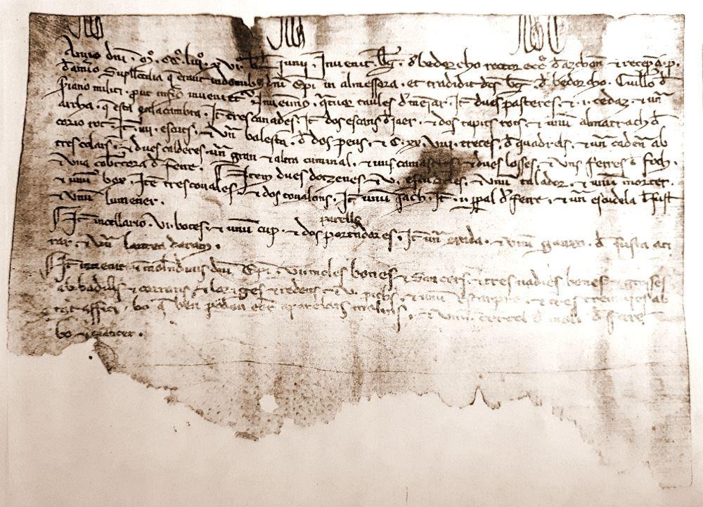 El primer documento valenciano escrito en valenciano