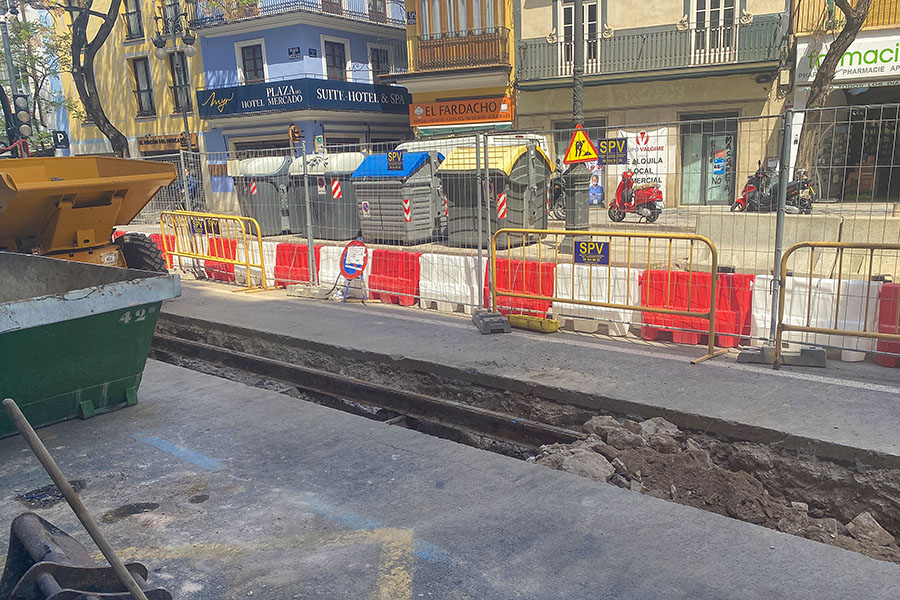 The old tram line's buried tracks