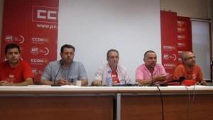 Comité de empresa de la EMT en la rueda de prensa ofrecida hoy en CC.OO./europa press