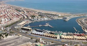 Vista área de la dársena del puerto de Valencia