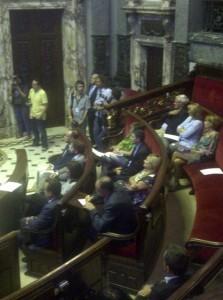 Los tres grupos de la oposición, PSPV, Compromís y EU, en el pleno de hoy/vlcciudad