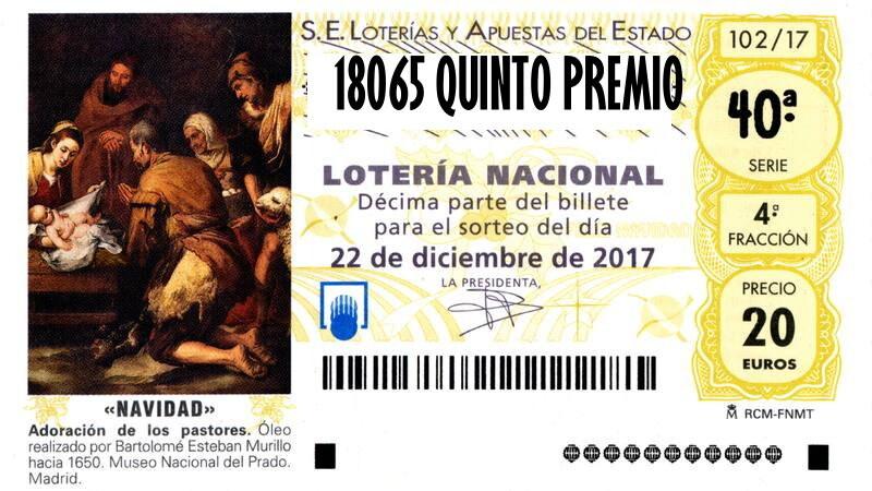 18065 CUARTO QUINTO PREMIO LOTERIA NAVIDAD
