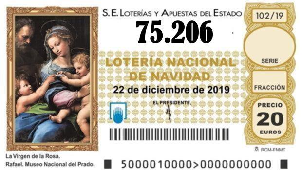 Primer quinto premio el 75.206 de la lotería de Navidad