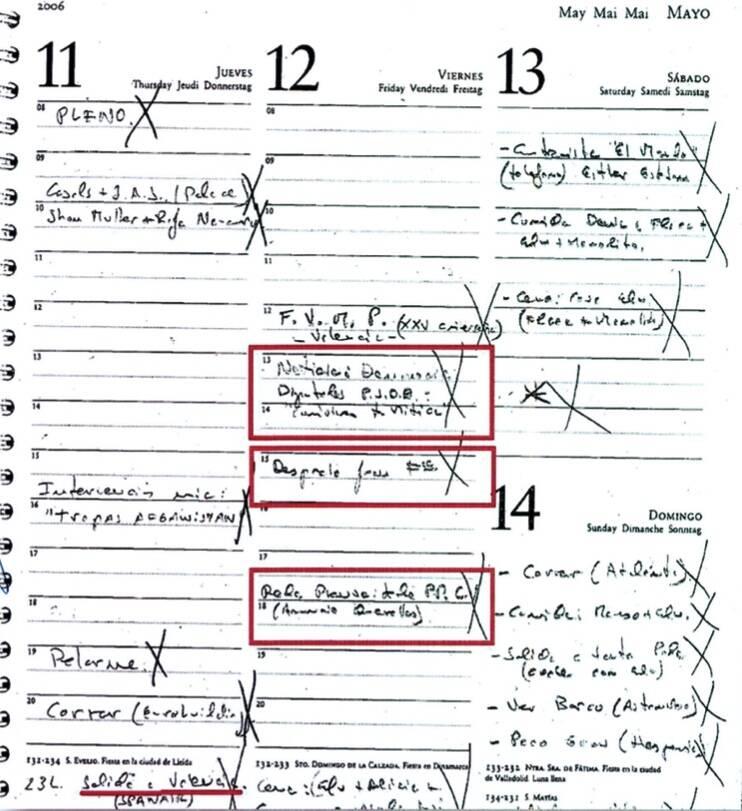 Anotaciones en la agenda de Zaplana relacionadas con Terra Mítica.