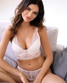 Demi-corset push-up en dentelle blanche Charlize