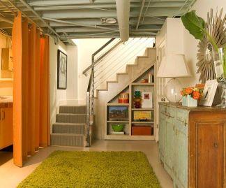 Nick-nack shelving under stairs -BH&G