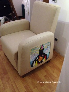Upholstered Chair with Interactive Art