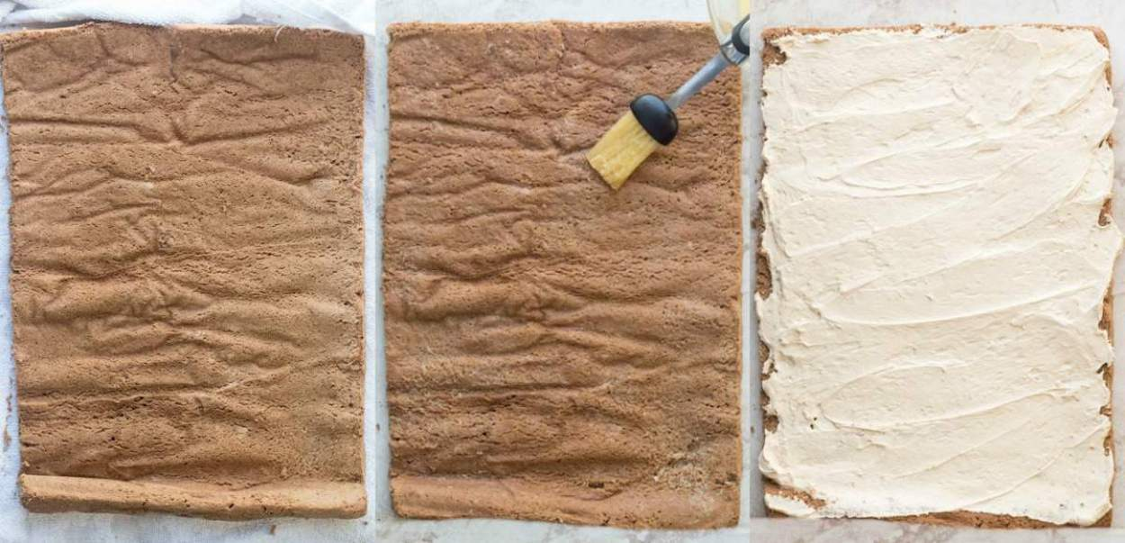Recipe for how to make coffee roulade with a coffee creamy sweet cream.
