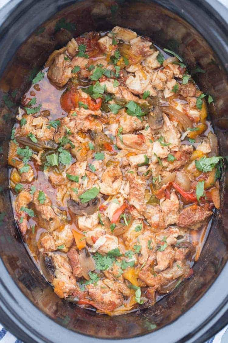 Slow Cooker (Crock-Pot) Chicken Fajita. Tender and so delicious.