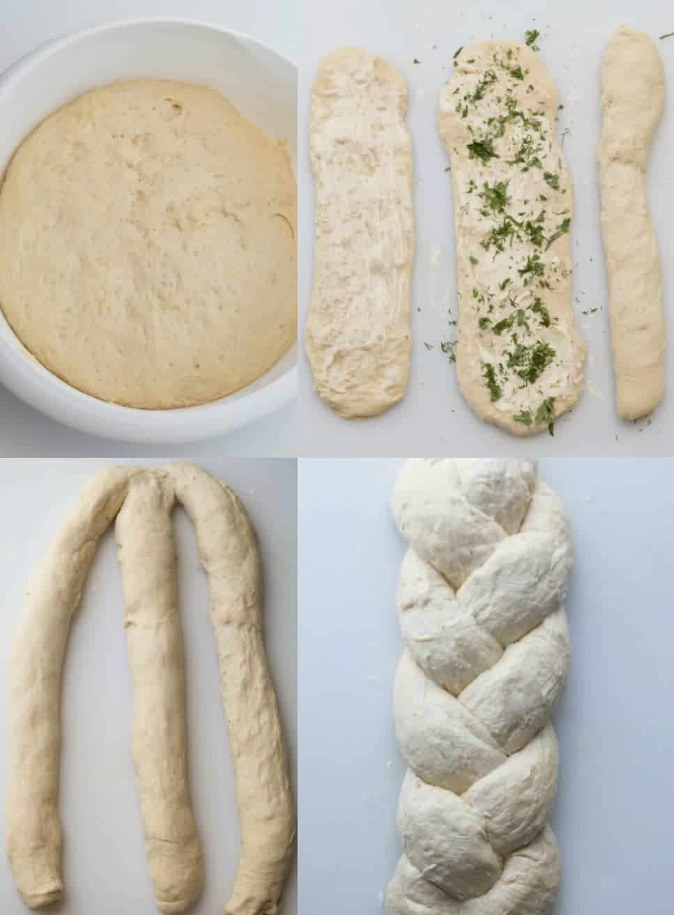 Step by step pictures of how to make butter herbs braided bread recipe.
