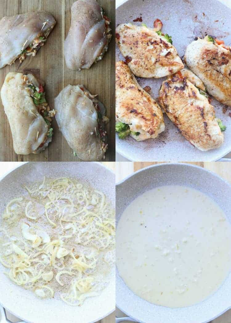 step-by-step photo instruction of the recipe. stuffing chicken breast. sauteing chicken and preparing the sauce.