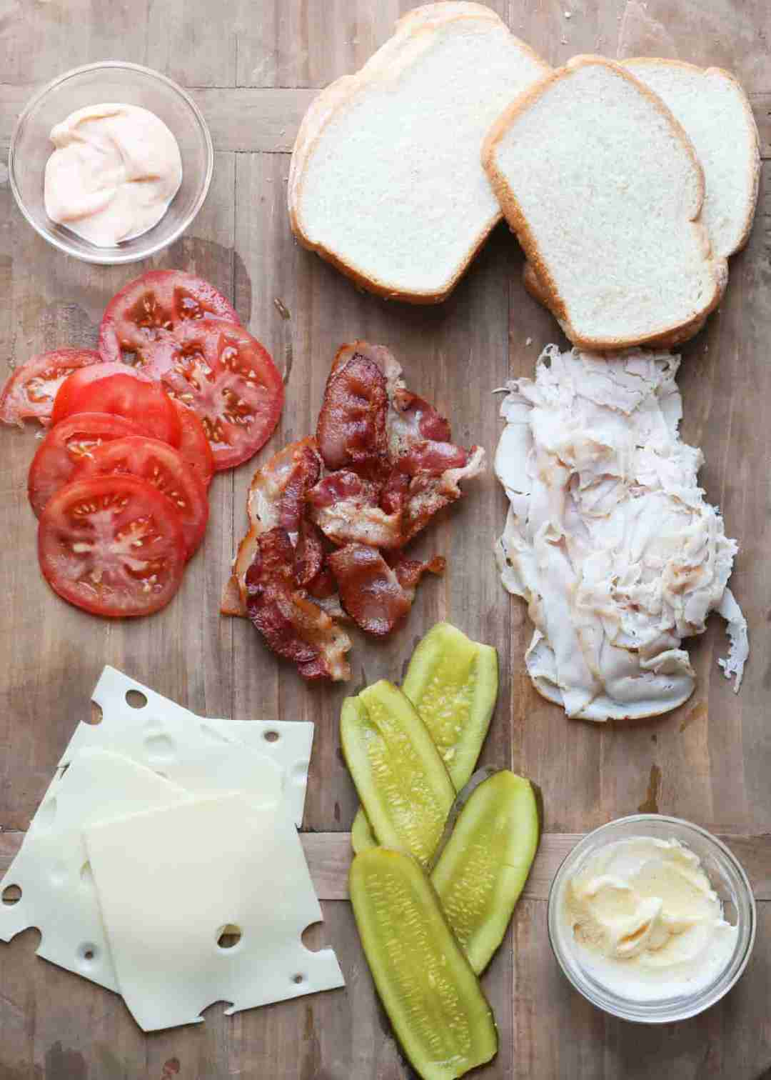 Ingredients for turkey bacon grilled cheese recipe.