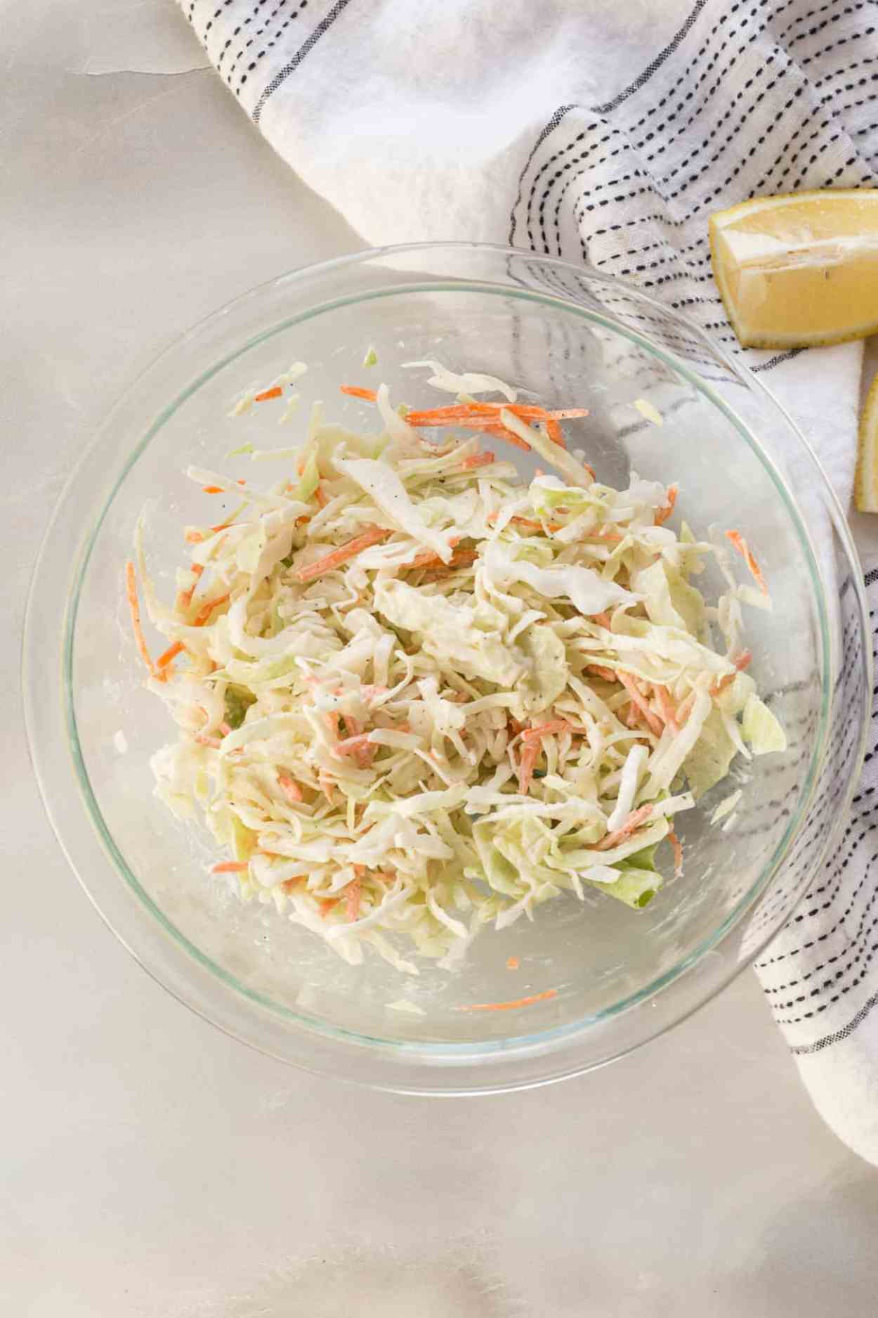 How to make coleslaw. Simple and great addition for BBQ pulled chicken sandwiches.