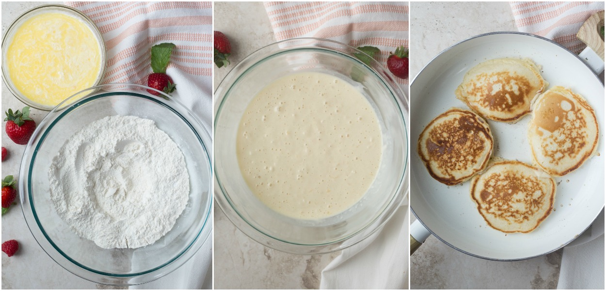How to make pancakes batter and cooking the pancakes.