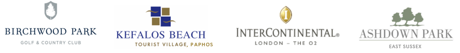 Venue associations, Birchwood Park, Intercontential Hotel, Ashdown Park, Kefalos Hotel