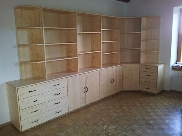 Buffet et bibliothèque de salon en sapin massif, intérieurs blanc