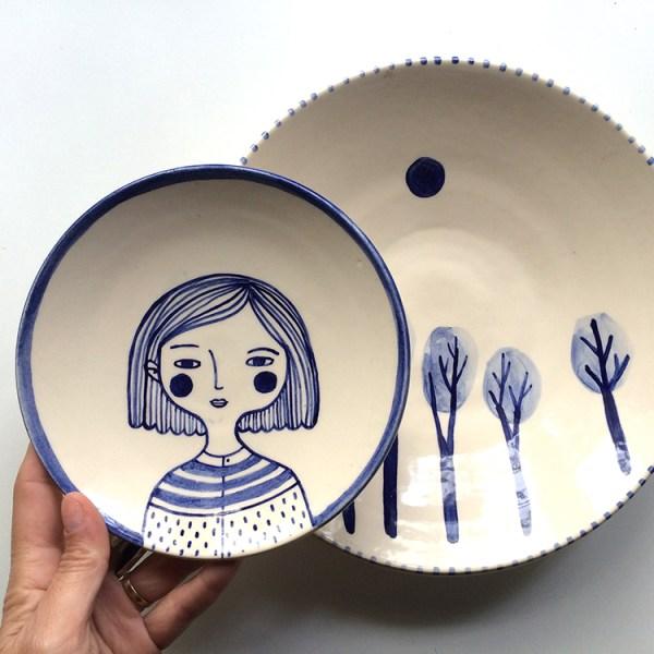 Plato de ceramica ilustrado