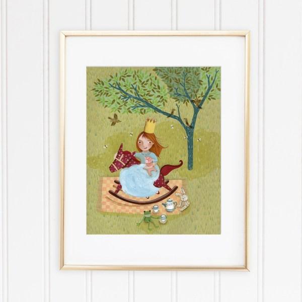 Picnic de princesa - Pintura original para decorar