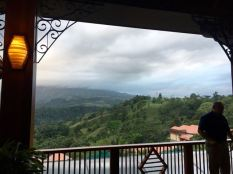 The view from the lobby...under the clouds was the volcano!