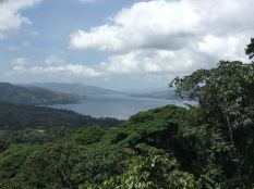 View of Lake Arenal from view point atop steps