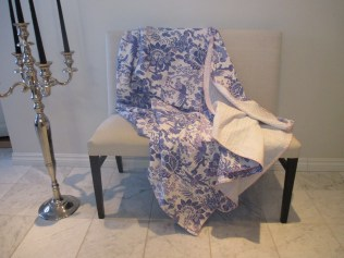 BEDSPREAD KANTHA-EMBROIDERED WITH BLUE BIRDS
