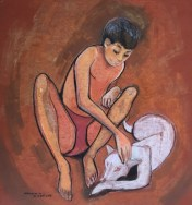 Boy and Dog 50cm x 56cm Unframed Pastel (NFS)
