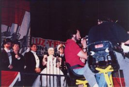 filming the Evita commercial in Canada
