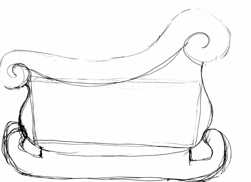 Preliminary, rough sketch of the side of what will become Santa's Sleigh Gingerbread centerpiece or Advent Calendar.