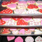 Valentine's Day cookies on baking sheets