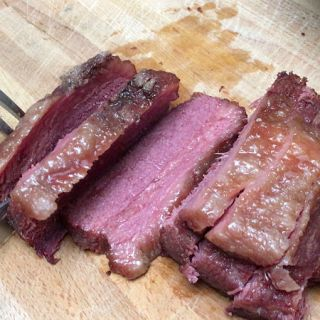 sliced Irish corned beef at St. Patrick's Day party