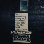 typewriter with saying