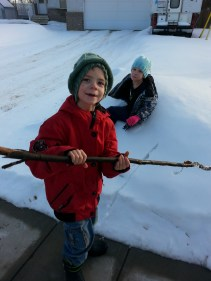 Keirnan and his stick